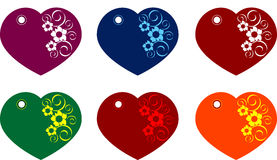 Heart gift tags. Beautiful different coloured Heart gift tags, isolated Stock Images