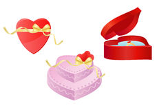Heart, Gift and Torte. Three isolated Images - Heart, Gift and Torte Royalty Free Stock Photos