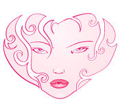 Heart of the girl's face Stock Images