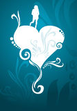 Heart and girly silhouette blue Royalty Free Stock Image
