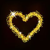 Heart of glitter with glare shines on a dark background. Contour heart sprinkled with sparkles, shines on a dark background Stock Image