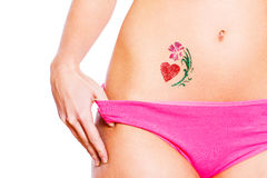 Heart glitter-tattoo with flower isolated Stock Photography