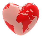 Heart Globe Indicates Valentine Day And Affection Royalty Free Stock Image