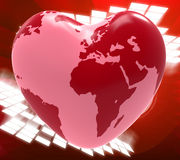 Heart Globe Means Valentine's Day And Earth Royalty Free Stock Images