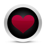 Heart glossy button. Isolated on white Royalty Free Stock Photos