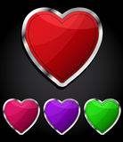 Heart glossy button, icon. Stock Images