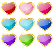 Heart glossy icons Stock Image