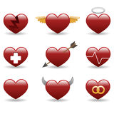 Heart glossy icons set Royalty Free Stock Photos