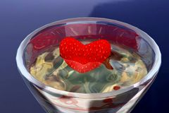 Heart in goblet. Scene heart in goblet Executed in 3 D Stock Photography