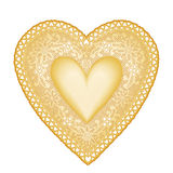 Heart of Gold. Vintage gold lace heart on a white background. Add your message for Valentine's Day, Mother's Day, anniversaries, birthdays, Christmas, weddings Royalty Free Stock Photo
