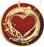 Heart of gold. Enamoured heart in a gold frame against a gold vegetative ornament Royalty Free Stock Photography