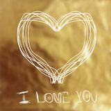 Heart on a gold background for Valentine`s day. Vector image can be used for web design, printed products, posters and greeting cards Royalty Free Stock Images