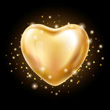 Heart Gold balloon on background Stock Photography
