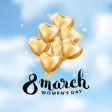 Heart Gold balloon 8 march. Womens day. Frosted party balloons event design. Balloons in the air. Party decorations for , celebration, love. Shine metallic royalty free illustration