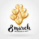 Heart Gold balloon 8 march. Womens day. Frosted party balloons event design. Balloons  in the air. Party decorations for , celebration, love. Shine metallic Royalty Free Stock Image