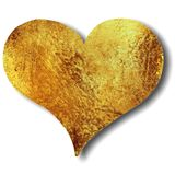 Heart in gold or bronze grunge texture. A gold or bronze colored heart with texture and isolated on white royalty free stock photos