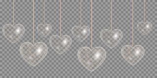 Heart of gold effect on a transparent background Stock Images