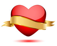 Heart and gold flag Royalty Free Stock Image