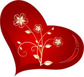 Heart with gold flowers inside. Vector illustration of Heart with gold flowers inside Stock Photo