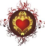 Heart in a gold frame. Against a vegetative ornament Royalty Free Stock Photography