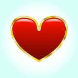 Heart in a gold frame. Glossy object light background . illustration Stock Images