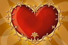 A heart is in a gold frame Royalty Free Stock Images