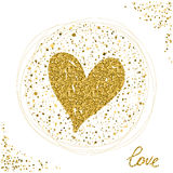 Heart. Gold glitter texture. Love theme Stock Images
