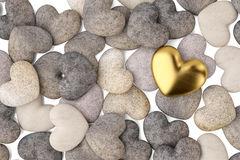 A heart gold and  many stone heart on white background. 3D illus. A heart gold and  many stone heart on white background Stock Images