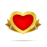 Heart gold medal premium badge tag banner on the white background Royalty Free Stock Photography