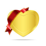 Heart gold medal premium badge tag banner on the white background Royalty Free Stock Photos