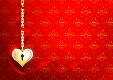Heart of gold on a red background. Vector heart of gold on a red background with a pattern Royalty Free Stock Photos