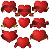 Heart Gold red ribbon banner collection set Royalty Free Stock Photography