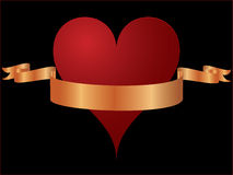 Heart with gold ribbon Stock Photography