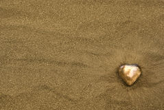 Heart of gold on sand Stock Images