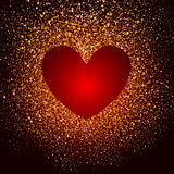 Heart of gold shine Stock Photography