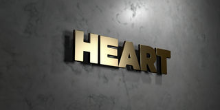 Heart - Gold sign mounted on glossy marble wall  - 3D rendered royalty free stock illustration Stock Image