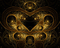 Heart in Gold Wire. A detailed gold fractal encasing a heart Stock Photo