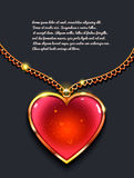 Heart on golden chain with light, design jewellery. Valentine`s day background. Rasterized Copy Stock Image