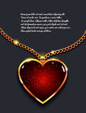 Heart on golden chain with light, design jewellery. Valentine`s day vector background.  Royalty Free Stock Photo