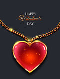 Heart on golden chain with light Valentine`s day vector background.  Royalty Free Stock Photography