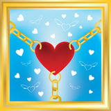 Heart in golden chains. With flying hearts on background Royalty Free Stock Photo