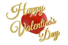 Heart and golden happy valentine`s day text.3D illustration. Heart and golden happy valentine`s day text. 3D illustration royalty free illustration