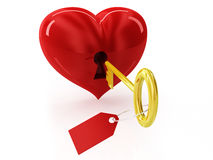 Heart and golden key Stock Photos