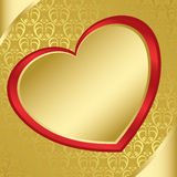 Heart on the golden pattern - vector Stock Photography