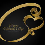 Heart from golden shiny ribbon Valentine's day Royalty Free Stock Photos