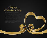 Heart from golden shiny ribbon Valentine's day Royalty Free Stock Photography