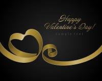 Heart from golden shiny ribbon Valentine's day Stock Photos