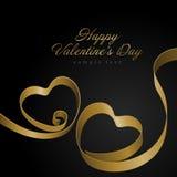 Heart from golden shiny ribbon Valentine's day Royalty Free Stock Photos