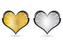 Heart golden and silver Royalty Free Stock Images