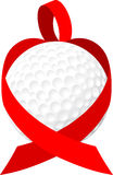 Heart golf ball ribbon Royalty Free Stock Image